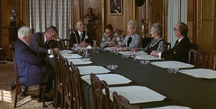 Carry On Girls at Pinewood Studios in Heatherden Hall Board Room Set