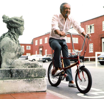 Sid James on Bicycle at Pinewood Studios